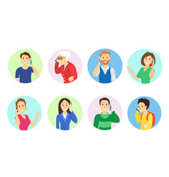 people speaking on phonetalking smartphone vector image