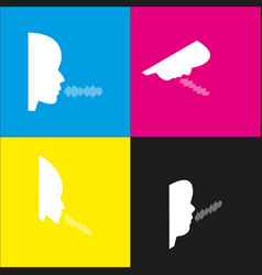 People speaking or singing sign white vector