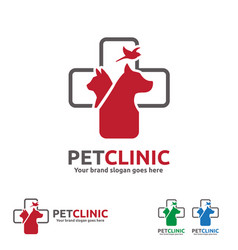 Pet clinic logo with dog cat and bird with cross vector