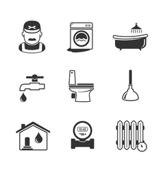 Plumbing and engineering linear icons vector image