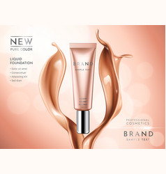premium liquid foundation ads cosmetic tube with vector image