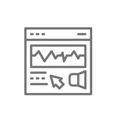 Presentation video editing line icon isolated on vector