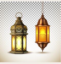 Ramadan kareem lamp lantern realistic vector