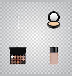 Realistic multicolored palette concealer blusher vector