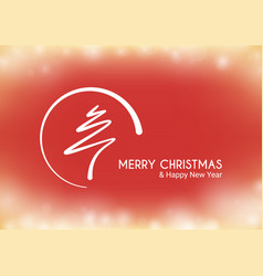 red abstract merry christmas tree line vector image