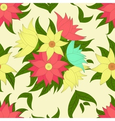 Retro seamless pattern with colorful flowers vector image vector image