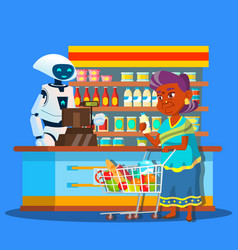 root seller in store with buyer near cashier vector image