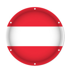 round metallic flag of austria with screw holes vector image