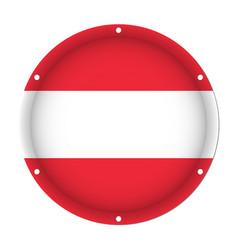 Round metallic flag of austria with screw holes vector