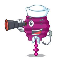 Sailor with binocular paper lantern mascot cartoon vector