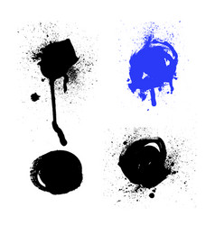 set black and white ink splash blots vector image