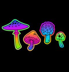 Set four bright colored mushrooms vector