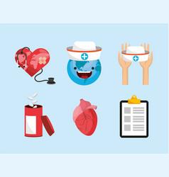 set medicine prevention to world health day vector image