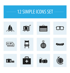 Set of 12 editable holiday icons includes symbols vector