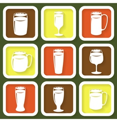 Set of 9 retro icons of beer glasses vector image