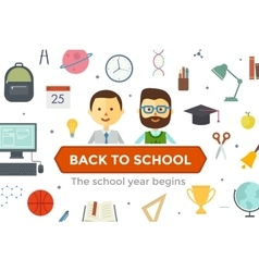 Set of education objects and characters vector