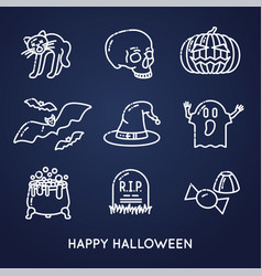 Set of linear halloween icons vector
