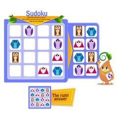 shapes owls game sudoku vector image