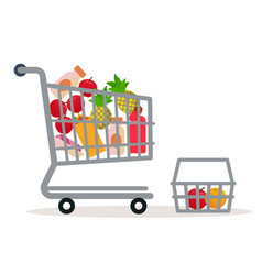 Shopping cart in the supermarket with goods vector