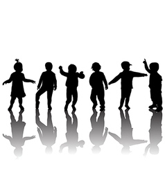 Silhouettes of children and shadows vector image