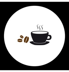 simple black coffee cup and coffee beans icon vector image