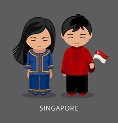 Singaporeans in national dress with a flag vector