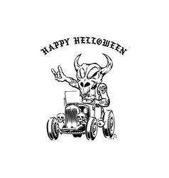 Skelton driver car halloween element vector