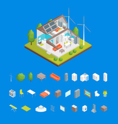 solar cell system in home and elements concept 3d vector image