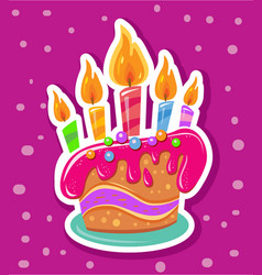 sticker with birthday cake and colorful candles vector image