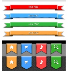 Stitched color web ribbons vector