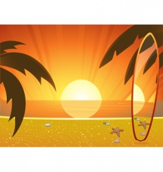 summer sunset and surfboard vector image