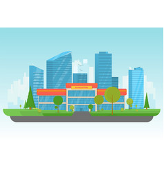 supermarket and big city vector image