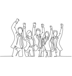 team work goal concept one single line drawing of vector image
