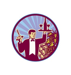 Waiter Serving Wine Glass Bottle Retro vector