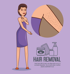 Woman armpit with hair removal icons vector