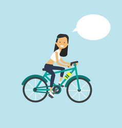 woman cycling chat bubble character full length vector image