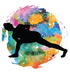 women silhouette revolved side angle yoga pose vector image