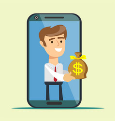 Young man from smartphone screen giving money bag vector