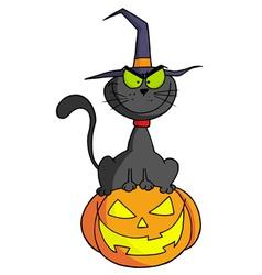 Cartoon Character Halloween Cat On Pumpkin vector image