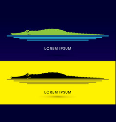 crocodile side view vector image