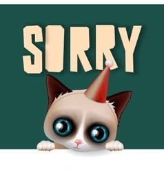 Cute grumpy cat apologize sorry card vector image