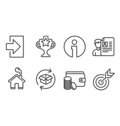 Job interview return parcel and login icons vector