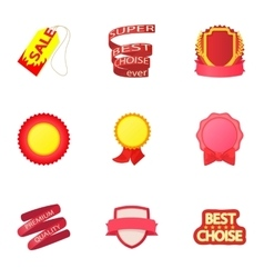 Label icons set cartoon style vector image