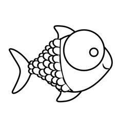 monochrome silhouette of fish with big eye and vector image