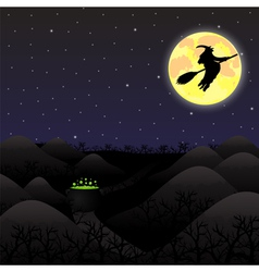 night landscape under a full moon on Halloween vector image vector image