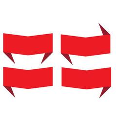 set red banner ribbon on white background vector image