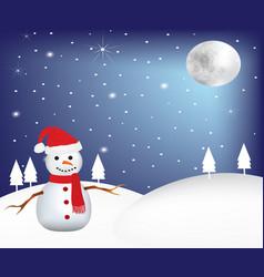 snowman at night at winter scene vector image vector image