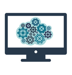 blue gear in the computer icon vector image