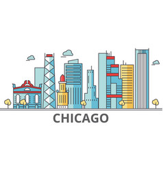chicago city skyline buildings streets vector image