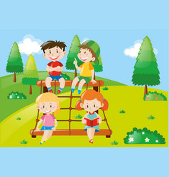 four kids playing at climbing station vector image